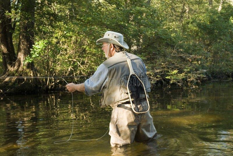 Pescador de la mosca con la red fotografía de archivo libre de regalías