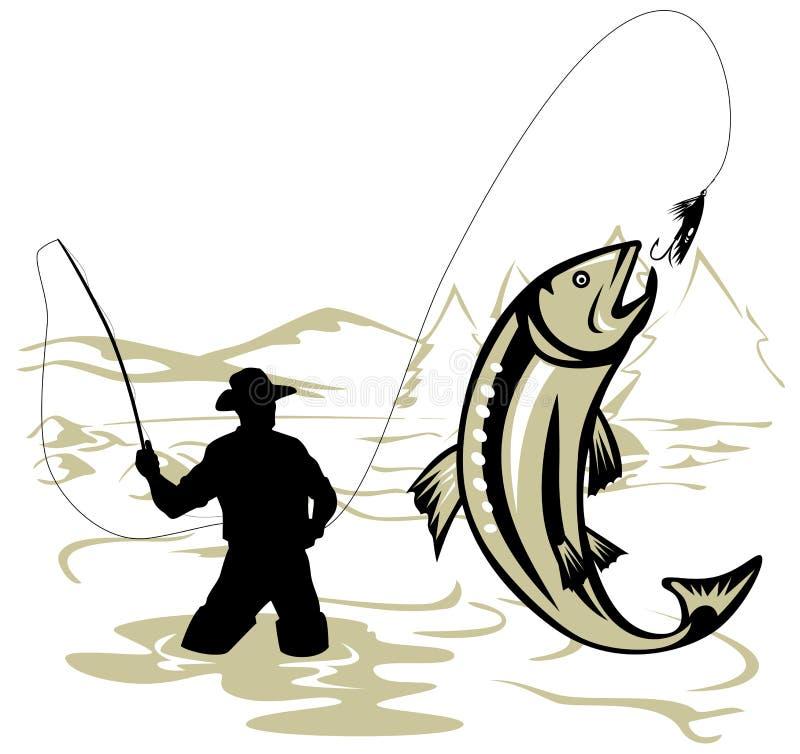 Pescador de la mosca que coge una trucha stock de ilustración