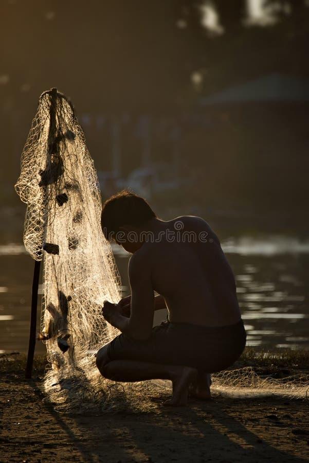 Pescador de Myanmar foto de archivo libre de regalías