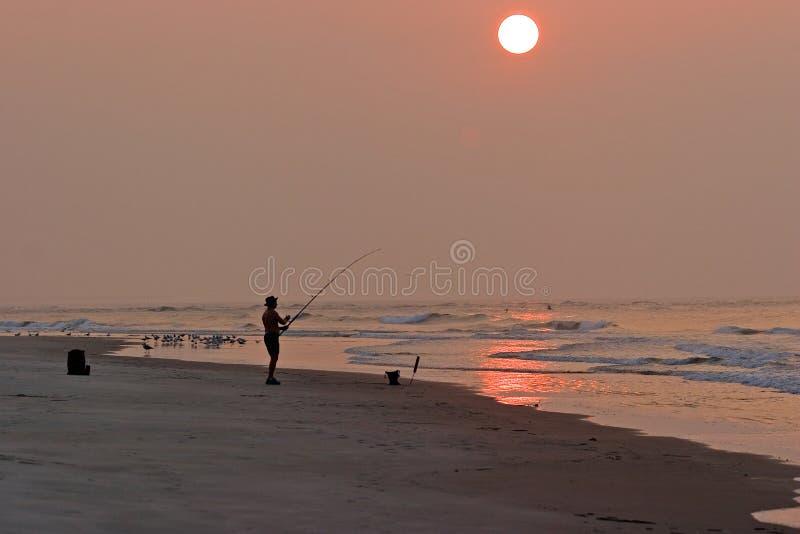 Pescador del amanecer fotografía de archivo