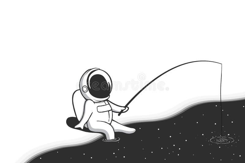 Pescador del astronauta ilustración del vector