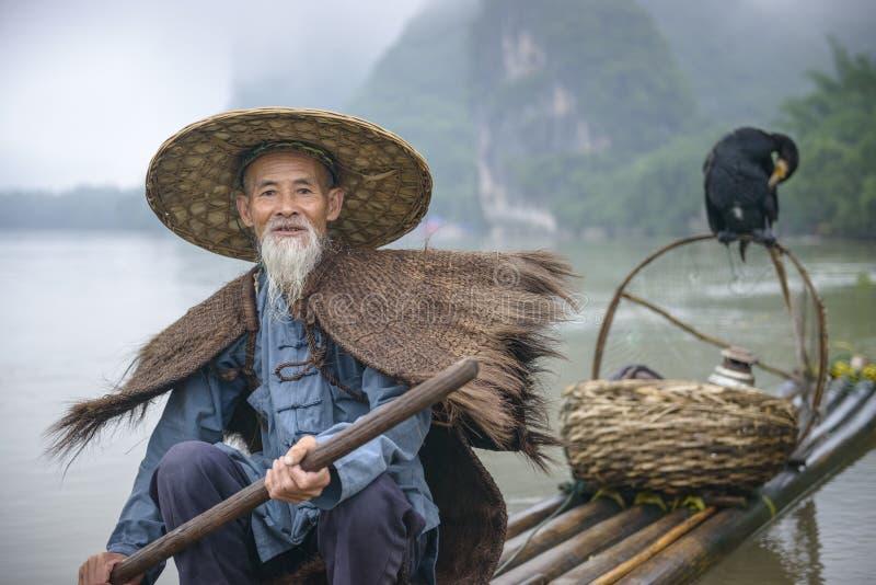 Pescador del cormorán imagen de archivo