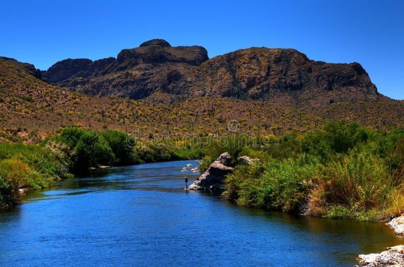 Pescador del río del desierto imagen de archivo