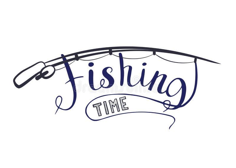 Pescador del tiempo de la pesca? en el lago, cerca a la puesta del sol libre illustration