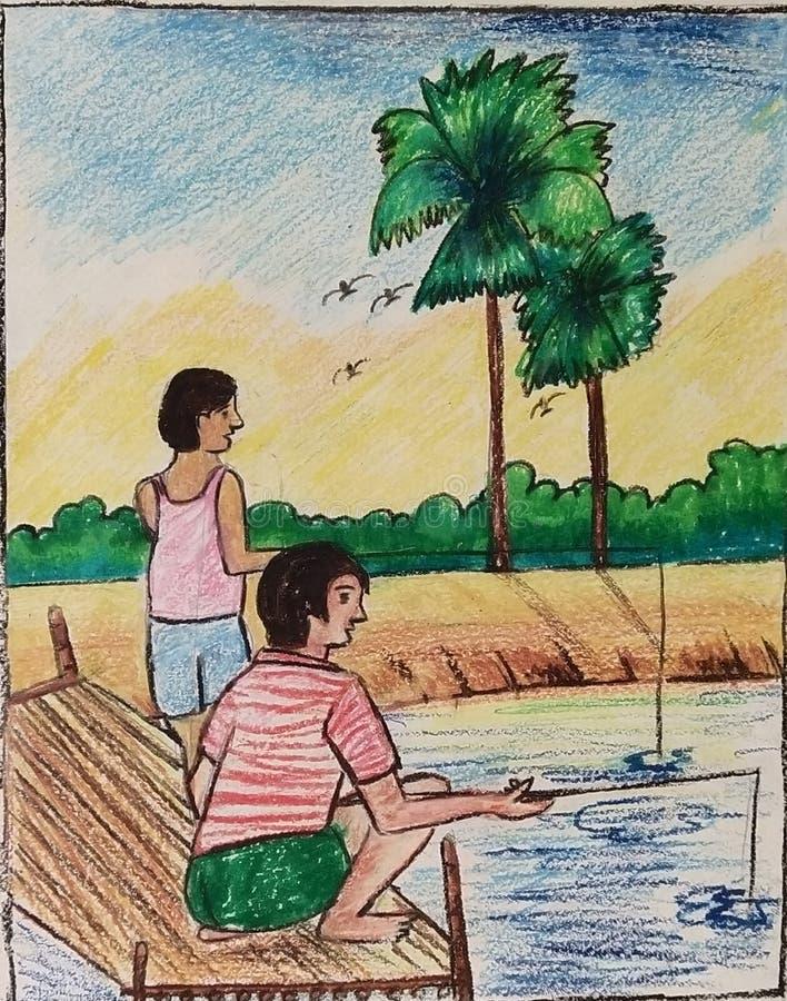 Pescador del tiempo de la pesca? en el lago, cerca a la puesta del sol imágenes de archivo libres de regalías
