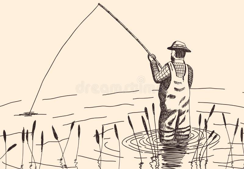 Pescador dibujado mano stock de ilustración