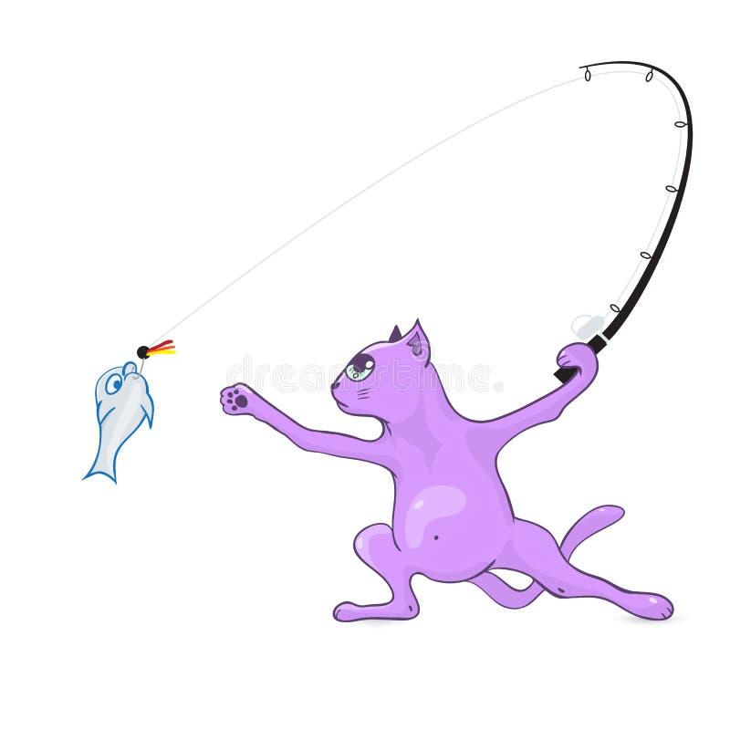 Pescador do gato que pesca a pesca com mosca ilustração stock