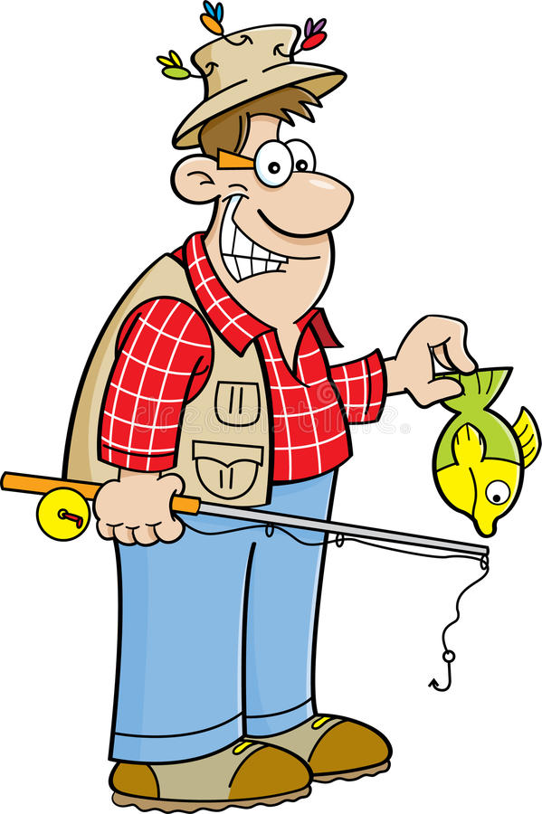 Pescador dos desenhos animados ilustração stock