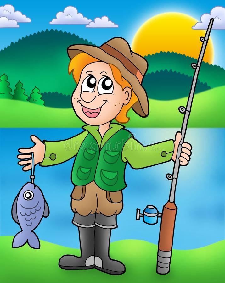 Pescador dos desenhos animados com peixes ilustração do vetor