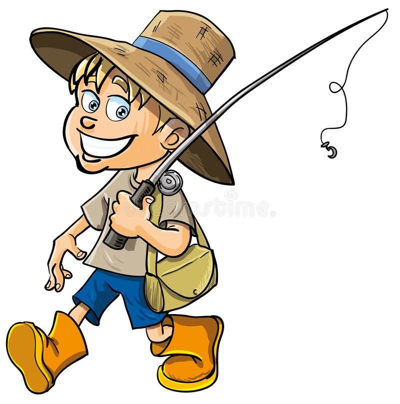 Pescador dos desenhos animados com uma vara de pesca ilustração royalty free
