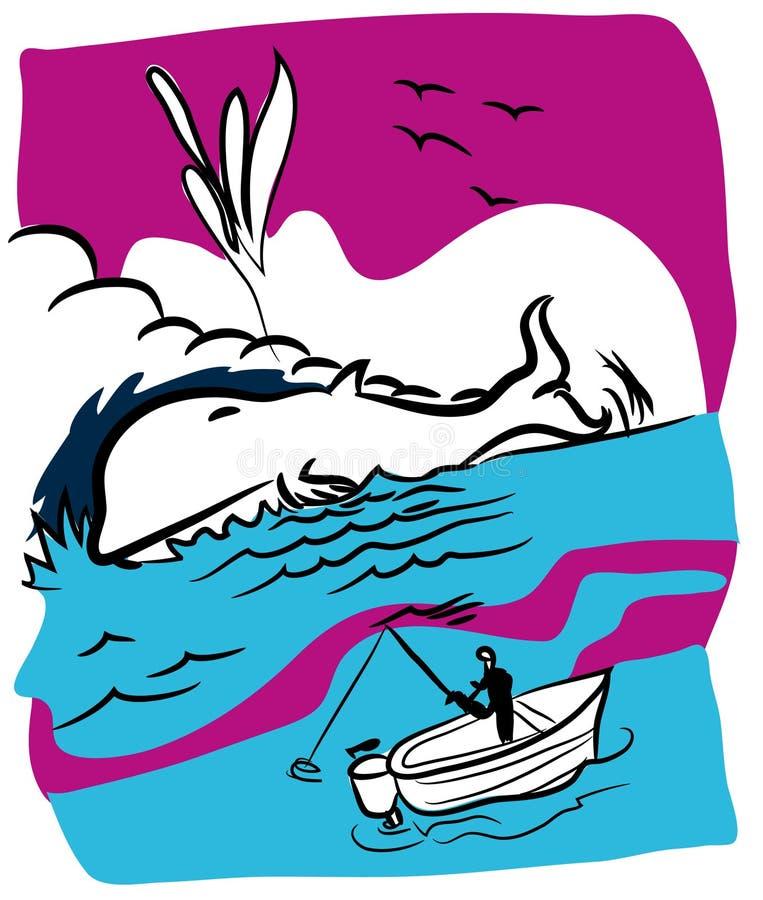 Pescador e baleia ilustração royalty free
