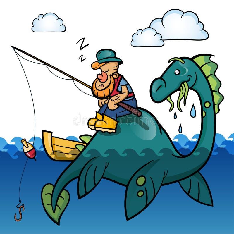 Pescador e dinossauro ilustração stock