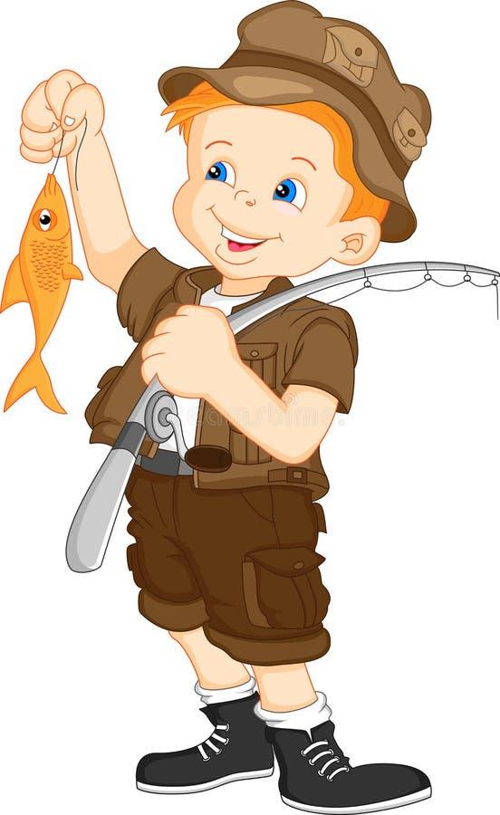 Pescador e peixes ilustração royalty free