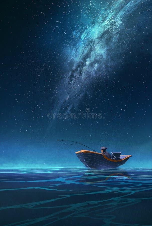 Pescador em um barco na noite sob a Via Látea imagem de stock