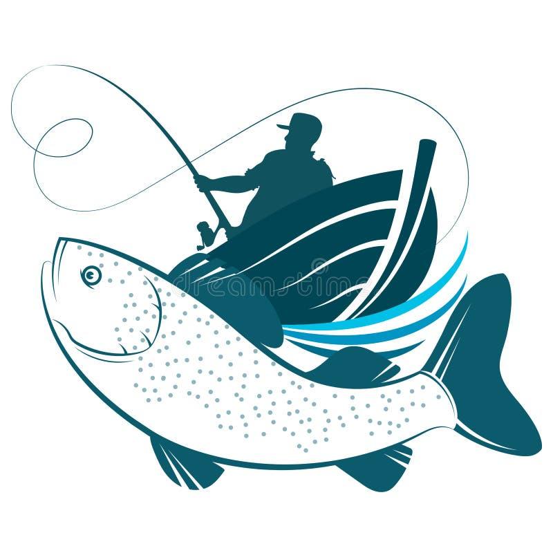 Pescador en diseño de barco y pescado ilustración del vector
