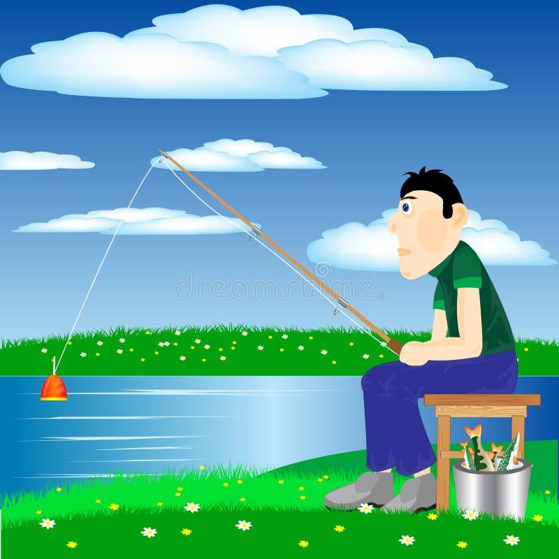 Pescador en el río libre illustration