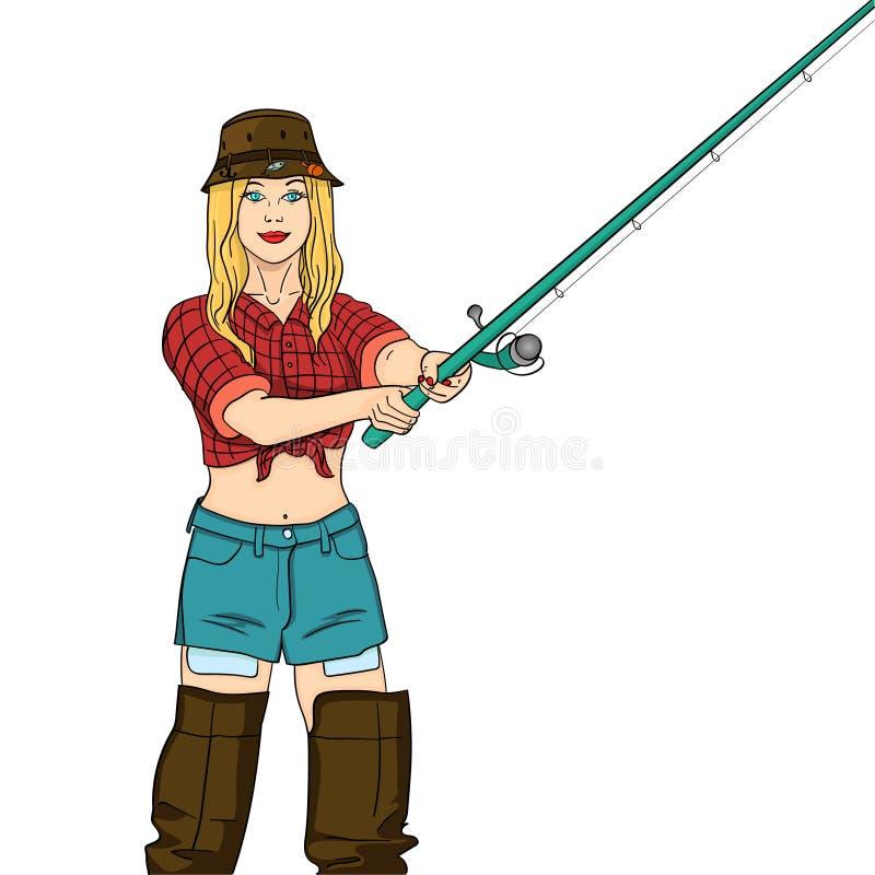 Pescador en el río, pescador de la mujer de la muchacha Objeto en el ejemplo blanco del vector del fondo Fondo del color stock de ilustración