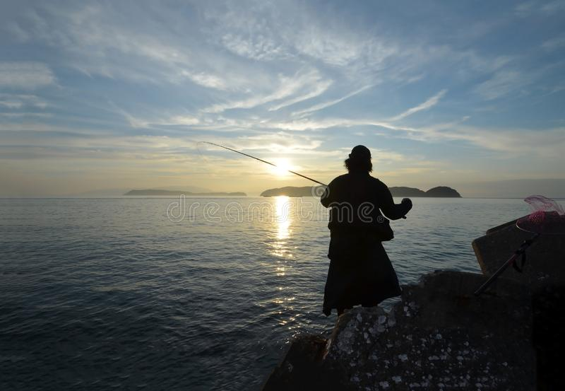 Pescador en el wakayama Japón imagenes de archivo