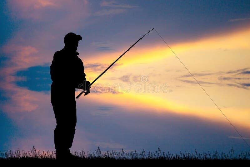Pescador en la puesta del sol libre illustration