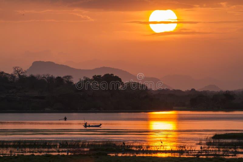 Pescador en puesta del sol de la laguna de la bahía de Arugam, Sri Lanka imágenes de archivo libres de regalías