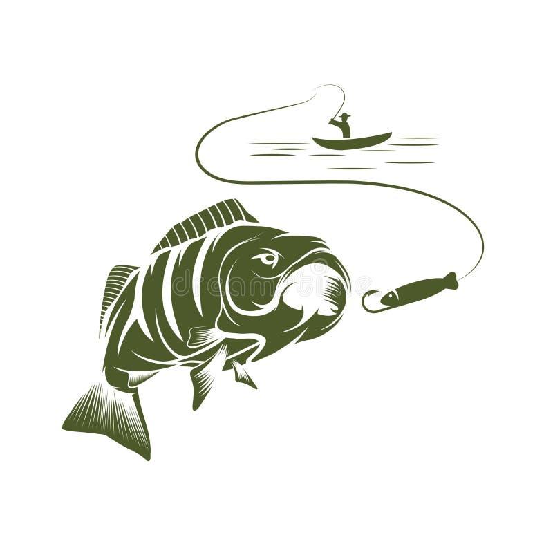 pescador en un barco y un bajo grande de la boca ilustración del vector