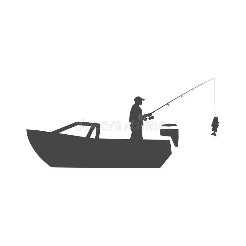 Pescador en una muestra del barco, pescando el logotipo stock de ilustración