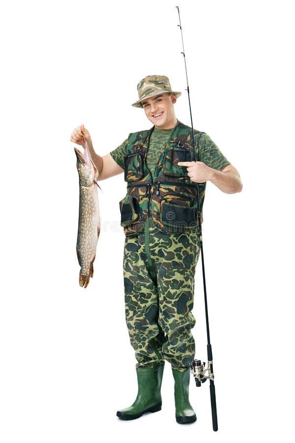 Pescador feliz con su retén foto de archivo