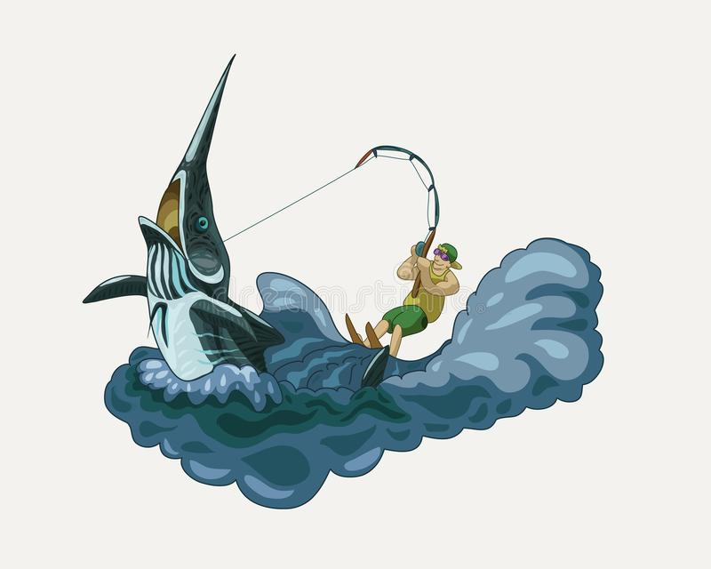Pescador feliz que monta un ejemplo del vector de la aguja ilustración del vector