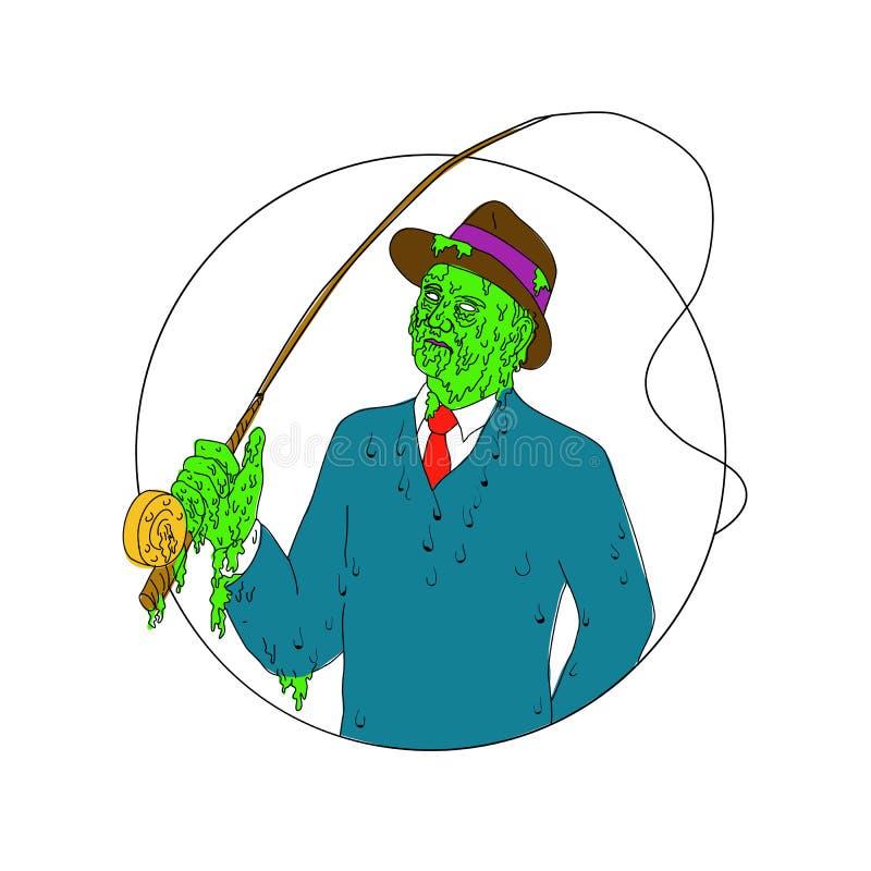 Pescador Fly Rod Reel Grime Art del gángster ilustración del vector