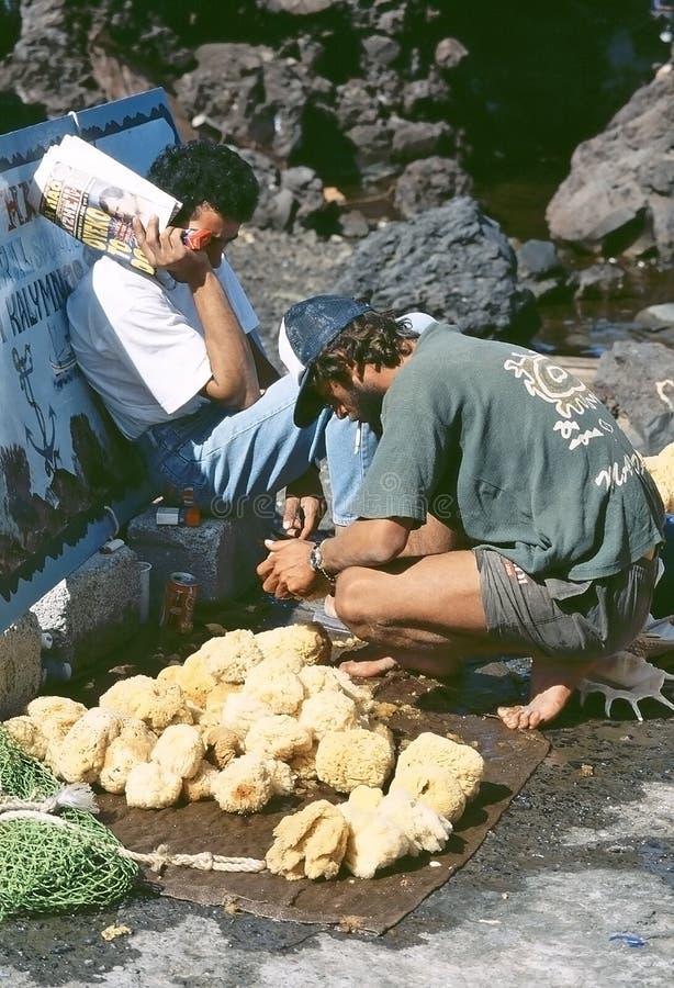 Pescador griego de la esponja fotografía de archivo libre de regalías
