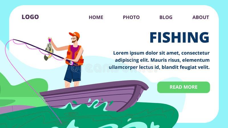 Pescador Holding Rod y soporte grande de los pescados en barco libre illustration