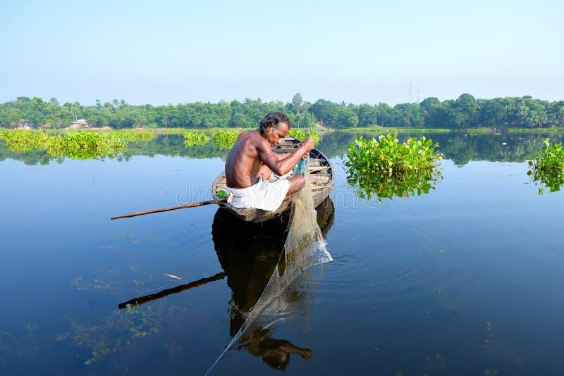 Pescador India do país fotografia de stock