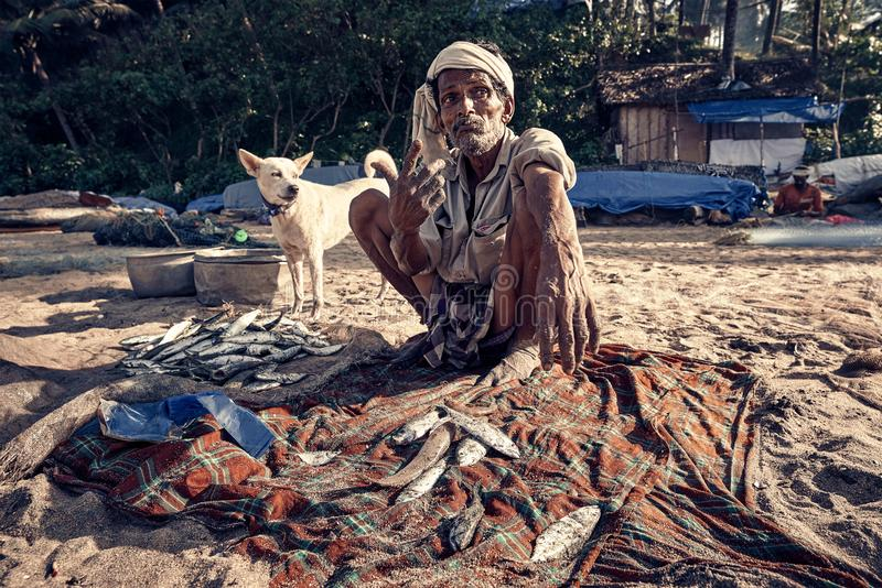 Pescador indiano com os fishis na praia fotos de stock