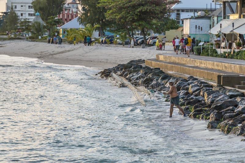 Pescador local que echa su red, Barbados fotos de archivo