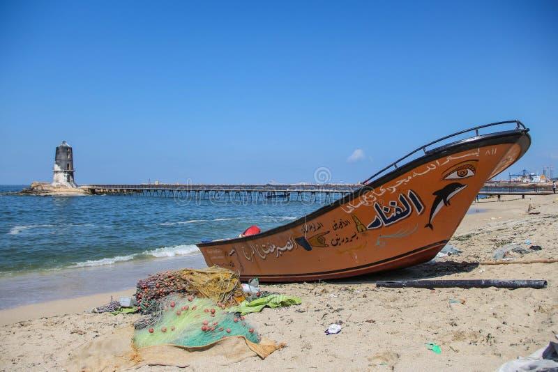 pescador máximo de Alexandría Egipto del barco bilding imagen de archivo libre de regalías