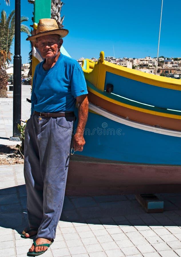 Pescador Malta foto de archivo