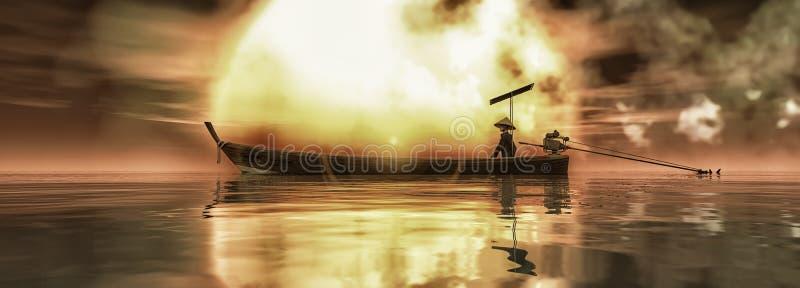 Pescador navegando con su barco stock de ilustración
