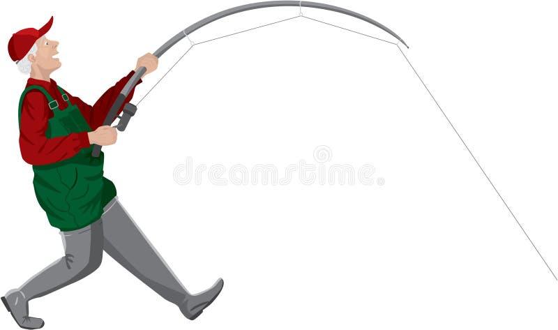 Pescador no branco ilustração do vetor