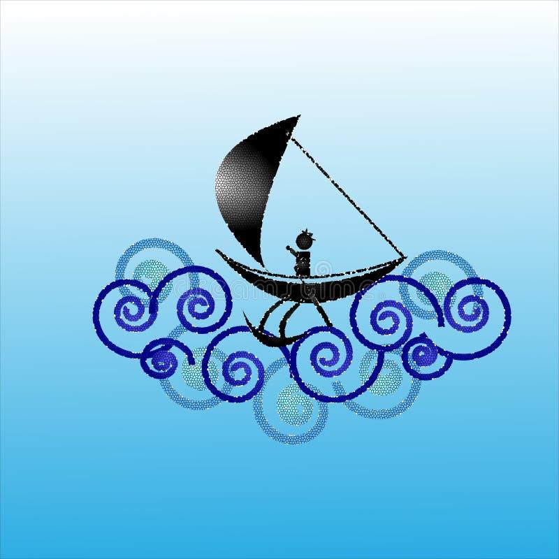 Pescador no mar áspero imagens de stock royalty free