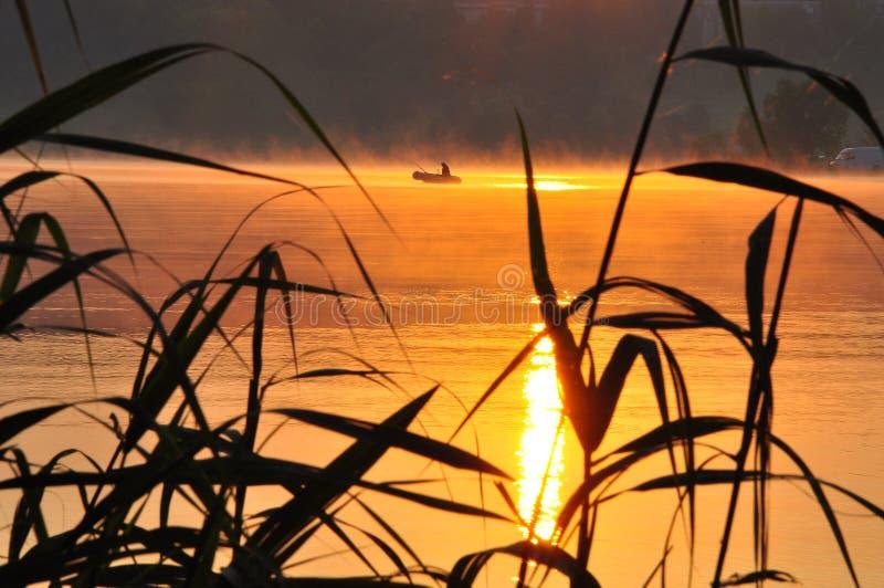 Pescador no nascer do sol fotos de stock royalty free