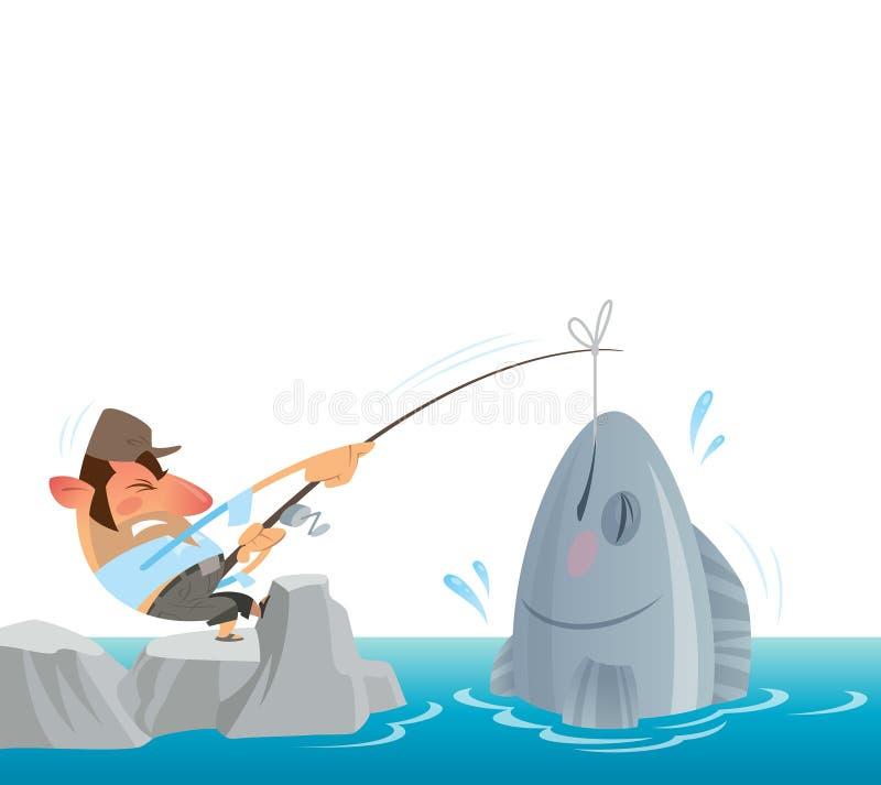 Pescador que coge y que saca del mar un pescado grande ilustración del vector