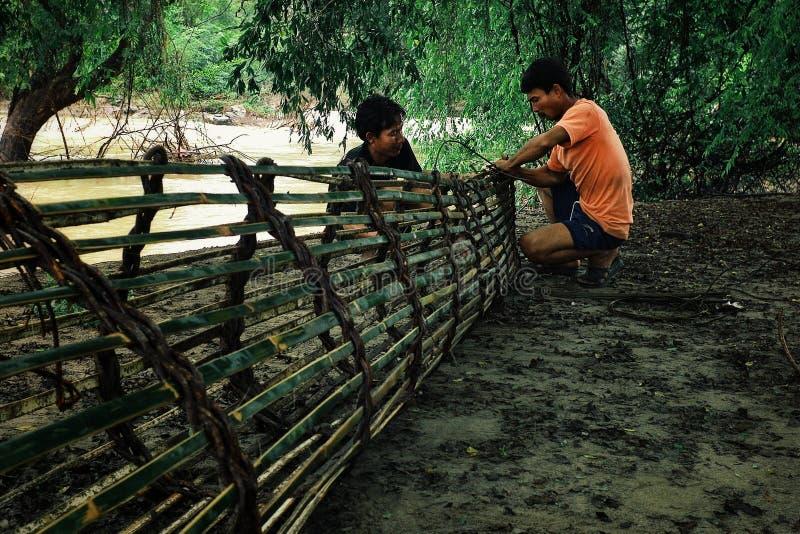 pescador que prepara sus trampas de bambú de los pescados para instalarlo en el río Mekong fotos de archivo libres de regalías