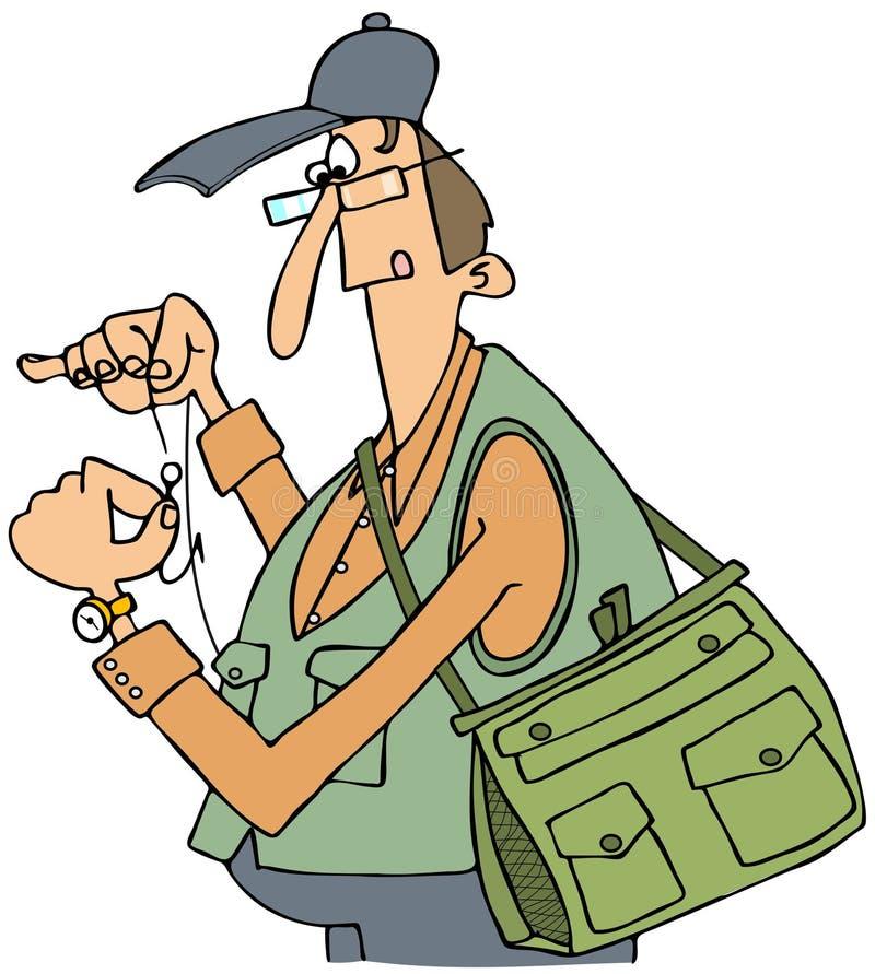 Pescador que rosqueia um gancho ilustração royalty free