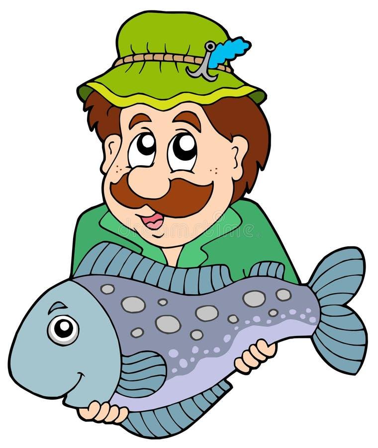 Pescador que sostiene pescados grandes ilustración del vector