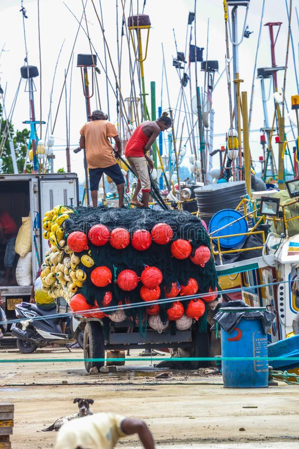 Pescador que trabalha no porto de Mirissa, Sri Lanka fotos de stock