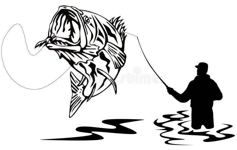 Pescador que trava um baixo ilustração royalty free