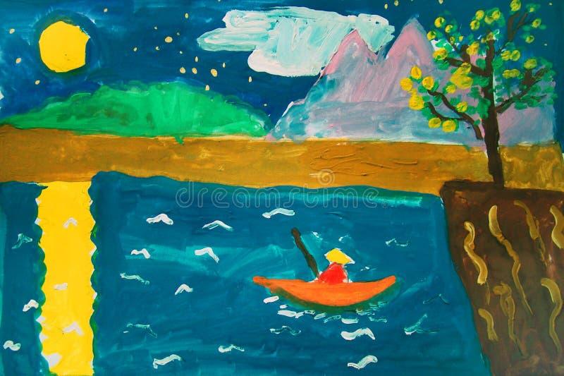 Pescador solo - pintura del aguazo hecha por el niño stock de ilustración