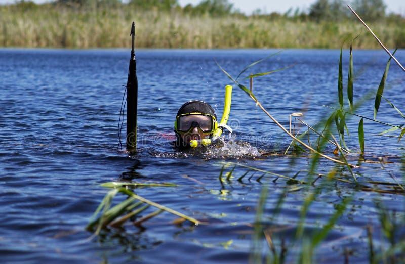 Pescador subaquático fotografia de stock royalty free