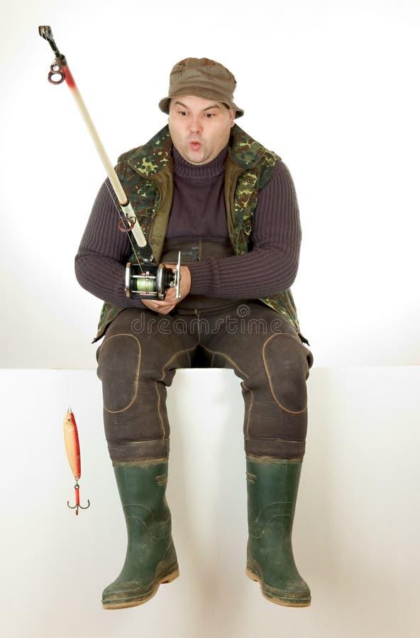 Pescador surpreendido foto de stock