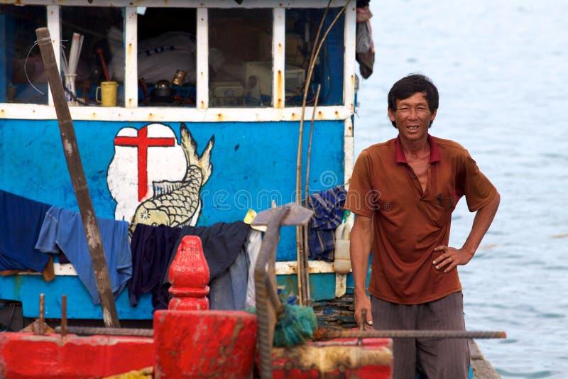 Pescador vietnamita imagen de archivo